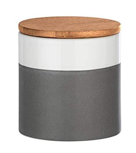 WENKO Aufbewahrungsdose Malta, 0,45 l, Vorratshaltung, Frischhaltedose mit Bambusdeckel und Silikonring zur luftdichten & aromafrischen Aufbewahrung, aus hochwertiger Keramik, Ø 10 x 11 cm, Mehrfarbig