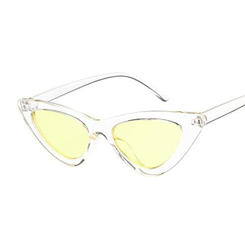 YANLINMY Gafas Retro Gafas de Sol Mujeres diseñador de Marca Vintage Gato Ojo Negro Blanco Sol Gafas Mujer Dama (Lenses Color : Trans Yellow)