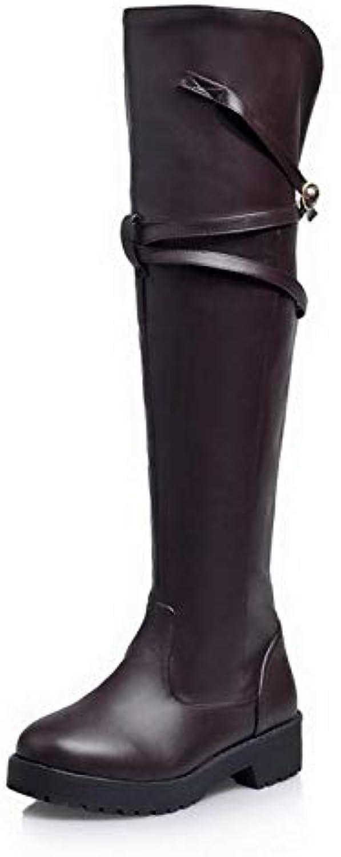 HAOLIEQUAN Frauen Stiefel Metall Schnalle Winter Oberschenkel Hohe Stiefel Mode Schuhe Frauen Starke Ferse Lange Stiefel Damen Größe 34-43  | Grüne, neue Technologie