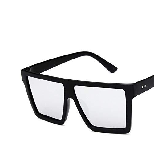 NJJX Gafas De Sol Cuadradas De Gran Tamaño Para Mujer, Montura De Lente De Una Pieza, Gafas De Sol Clásicas Clásicas Para Mujer, Espejo De Sombra Mate, Negro, Plateado