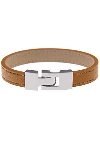 Leslii hochwertiges Elegantes Damen-Armband Leder-Armband Edelstahl Echtleder Silber Braun Beige Edelstah-larmband echtes weiches italienisches Leder