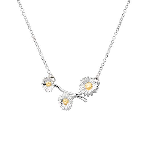 Lily Charmed - 925 Sterling Silver Daisy Chain Necklace with 18' Chain and...