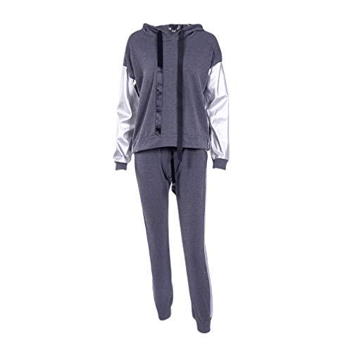 junkai Streetwear Casual Chándal Mujer Otoño Invierno Cremallera Irregular Costura Sudaderas con Capucha Pantalón Largo Traje de Dos Piezas