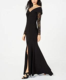 XSCAPE Womens Black Slitted Lace Sleeve Gown Off Shoulder Maxi Evening Dress US Size: 14