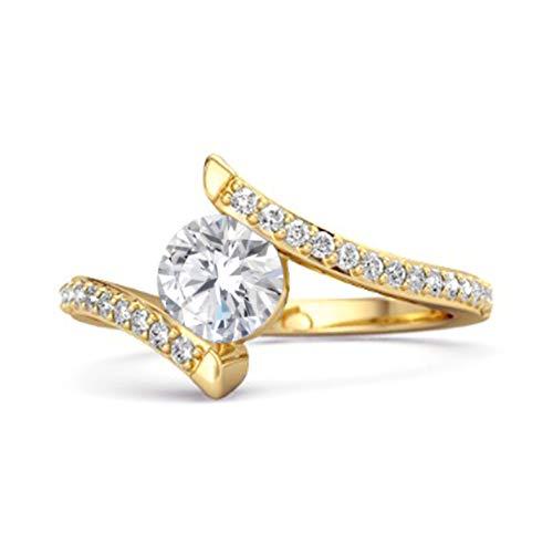 Shine Jewel Multi Elija su Anillo De Mujer Apilable Chapado En Oro Amarillo De 0.10 Ctw De Plata De Ley 925 con Piedras Preciosas (16, cz Blanca)