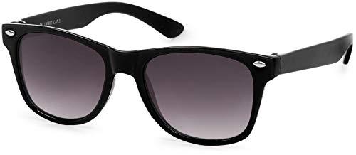 styleBREAKER Kinder Nerd Sonnenbrille mit Kunststoff Rahmen und Polycarbonat Gläsern, klassiches Retro Design 09020056, Farbe:Gestell Schwarz / Glas Grau Verlauf