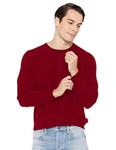 State Cashmere Men's Essential Crewneck Sweater 100% Pure Cashmere Classic Long Sleeve Pullover (X-Large, Burgundy)