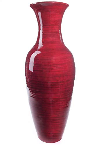 "GreenFloralCrafts 36"" Classic Mahogany Red Bamboo Floor Vase & Birch Branches"