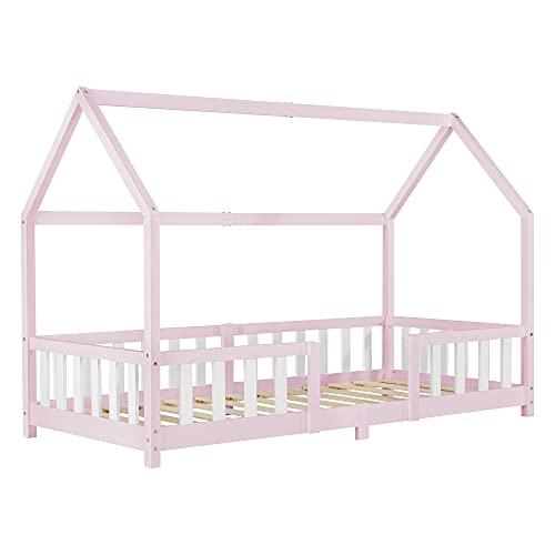 Cama para niños en Forma de Casa con Reja Protectora Madera de Pino 207 x 96 x 140 cm Chapa de Madera Rosa Blanco Mate Lacado