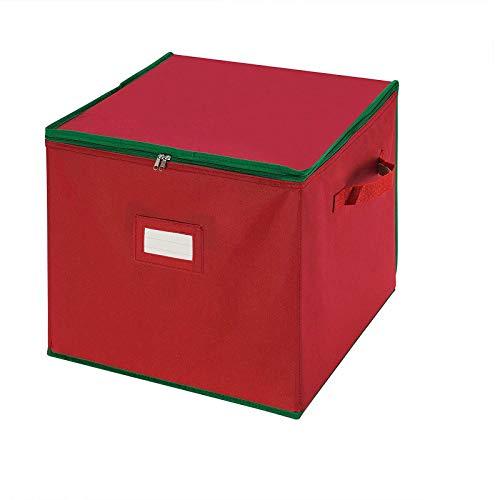 Alecony Weihnachtskugeln Aufbewahrungsbox für 64 Kugeln, Weihnachten Ornament Christbaumkugel Box mit Reißverschluss und Griff, Weihnachtsschmuck Baumschmuck Aufhänger Aufbewahrung Organisation, Rot