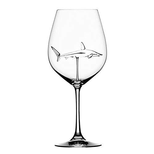 Pilink Juego de copas de vino tinto con tiburón en el interior de la copa de vidrio transparente sin plomo con tallo largo para casa bar fiesta