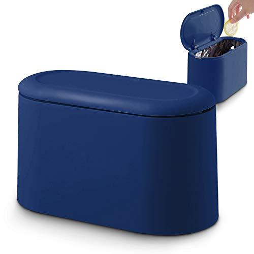 JEEZAO Cubo de Basura de Mesa con Tapa, Papelera de Escritorio Mini Bote de Reciclar, Maquillaje Lápiz Cubo,Reciclaje para Oficina, Baño,Hogar,Almacenamiento de Alimentos para Mascotas (Azul Oscuro)