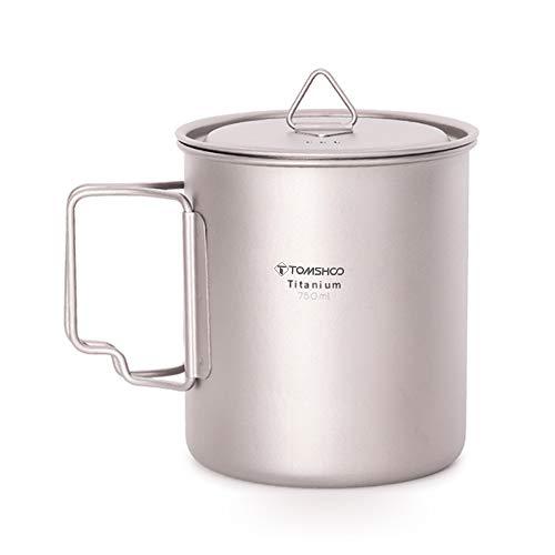Lixada Taza de Agua de Titanio, 750 ml, con Asas Plegables y Tapa con Plato al Vapor, para Camping, Senderismo, Cocina, pícnic