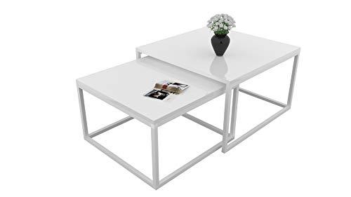 Yoshi 2 in 1 Set 2-er Set Weiß Hochglanz HG Couchtisch Tisch Wohnzimmertisch moderner Kaffeetisch Sofatisch Beistelltisch Wohnzimmer Metall Metallrahmen (Weiß/Weiß Hochglanz)