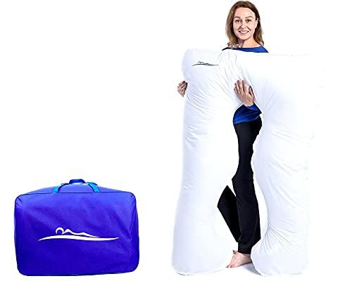KomfortKissen ORIGINAL - Premium Orthopädisches Kuschelkissen | Körperkissen | Seitenschläferkissen - Für besseren Schlaf und gegen Rückbeschwerden 100 x 150 cm (Baumwolle - Weiß)