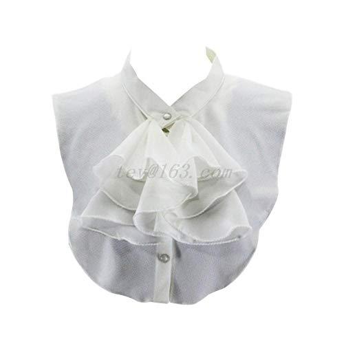 Damen Vintage Palast Rüschen Schleife Halb Hemd Bluse Chiffon falscher Kragen 2