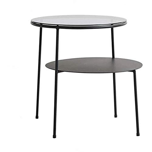 LYYJIAJU Small Coffee Tables Living Room Small Coffee Table-Sofa End Table,Corner Table Double Layer Design Grey Transparent Glass and Iron Plate,40X50cm