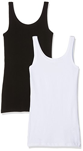 ONLY Damen Onllive Love New Long Tank 2PK NOOS Top, Mehrfarbig (Black Pack:Black and White), 38 (Herstellergröße: M) (2er Pack)