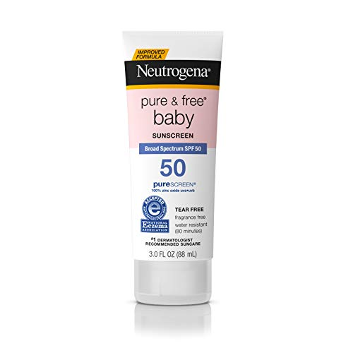 Neutrogena Pure & Baby Mineral Sunscreen Lotion with Broad Spectrum SPF 50 & Zinc Oxide, Water-Resistant, Hypoallergenic & Tear-Free Baby Sunscreen, 3 fl. oz (Pack of 2)