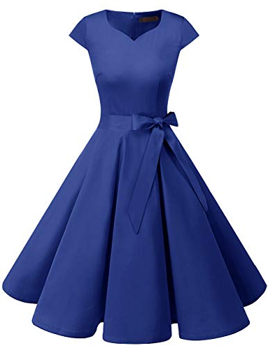 Dresstells Damen Vintage 50er Cap Sleeves Rockabilly Swing Kleider Retro Hepburn Stil Cocktailkleid RoyalBlue XL