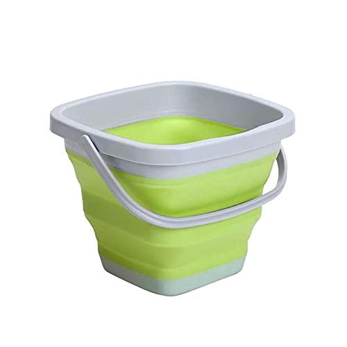 Yius Cubo plegable, cubos plegables portátiles con asa, contenedor de agua plegable que ahorra espacio para jardinería, camping, pesca, supervivencia al aire libre (verde, tamaño: 5L)