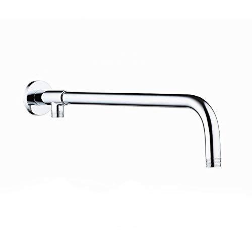 Brazo de ducha, tubo de acero inoxidable para fijar el cabezal de ducha, con soporte de latón montado en la pared, base de cobre + tubo de acero 304 con una longitud total de 49 cm.