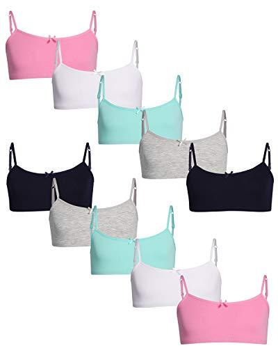 Rene Rofe Girls Cotton Spandex Cami Crop Training Bra with Adjustable Straps (10 Pack) (Asst #5, Medium/(7-8))