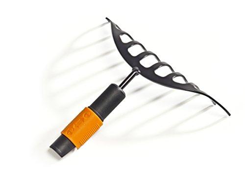 Fiskars Râteau à massifs, 10 dents, Tête d'outil QuikFit, Largeur: 24,5 cm, Acier au carbone, Noir/Orange, QuikFit, 1000651