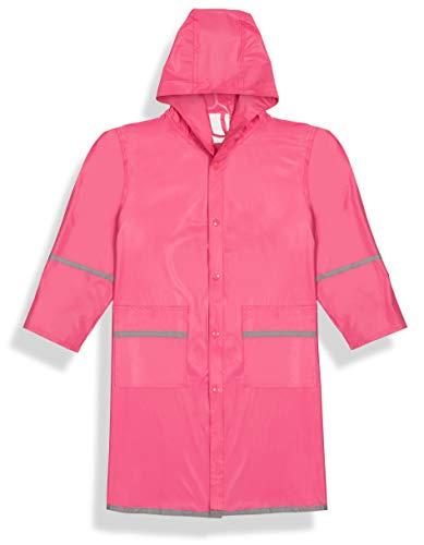 Fabugears Boys/Girls Kids/Juniors Rain Coat Whit Reflector, Full Length Long Hooded L(10-12) Pink