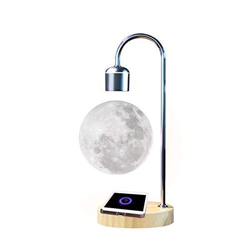 Gleagle Lámpara lunar levitante flotante 3D regalo para oficina levitación magnética LED antigravedad luz nocturna imán giratorio juguetes de escritorio cargador inalámbrico del teléfono