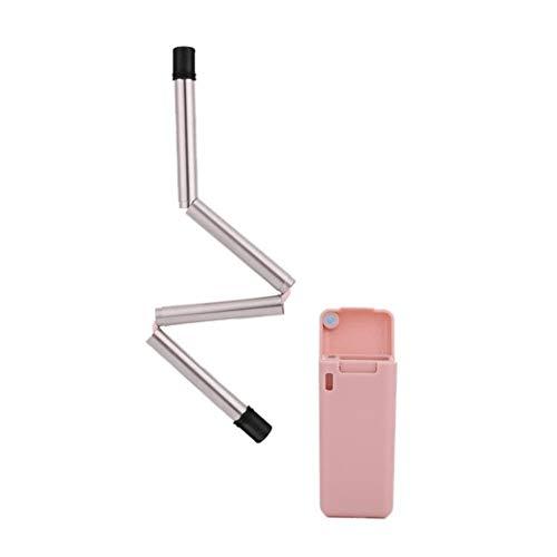 Paille pliable en acier inoxydable, noir, rose, gris, en silicone, pliable, portable, étui de rangement réutilisable, paille d'extérieur, QP, États-Unis