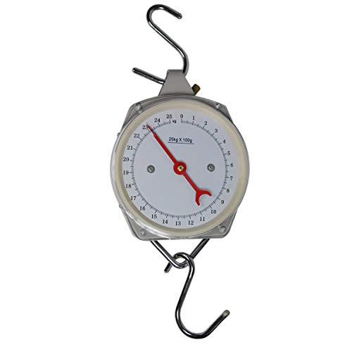 HELO Zeigerschnellwaage 25 kg analog mit 100 g Skala Unterteilung, Handwaage mit 2 S-Haken zum Auf- und Einhängen für eine schnelle Gewichtsbestimmung