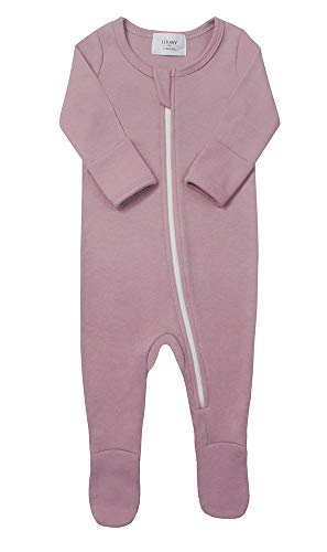 Elkrry Baby Unisex Cotton Pajamas, Boy's Girls Newborn Zip-Front Footed Sleeper Play PJs, Infant Romper(3-6Months, Lavender)