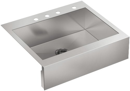 KOHLER 3935-4-NA Top-Mount Single-Bowl Stainless steel Kitchen Sink with Farmhouse Tall Apron, 30 in Cabinet Base Width