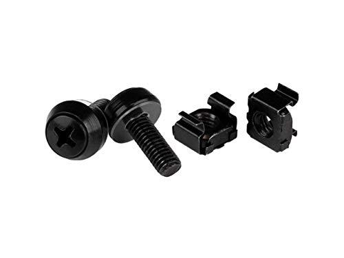 StarTech.com CABSCREWM62B - Tornillos y Tuercas enjauladas M6, 12 mm, para armarios, 100 Unidades, Color Negro