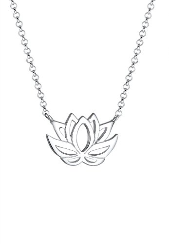 Elli Damen Schmuck Echtschmuck Halskette Kette Anhänger Lotusblume Sterling Silber 925 Länge 45 cm
