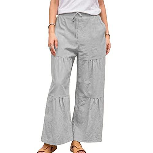 Pantalones Anchos Sueltos Casuales De Color SóLido De Verano para Mujer Pantalones De Empalme