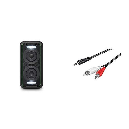 Sony GTK-XB5 One Box Party Soundsystem (200 W Ausgangsleistung, Extra Bass, Bluetooth, NFC, Licht und DJ-Effekte) Schwarz & Goobay Audio/Video Kabel (3,5mm Stereo Stecker auf 2X Cinchstecker) 1,5 m