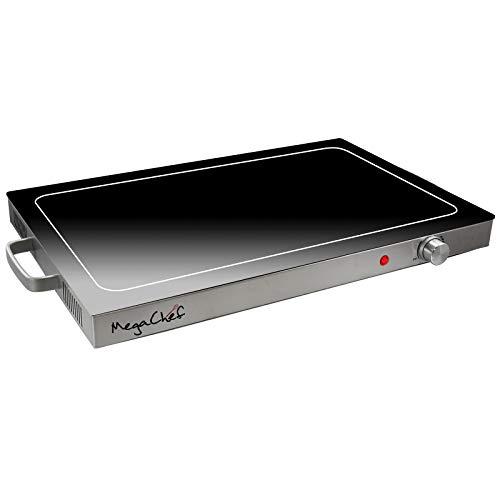 Megachef Electric Warming Tray with Adjustable Temperature Control, 24 in, Silver, Black