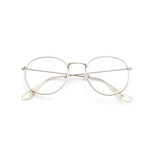 EUCoo Brillengestell Mode Retro Metall Runden Rahmen Spiegel Flache Brille Student GläSer(Weiß)