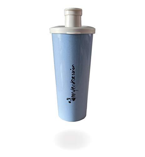 MYECOBSESSION Shaker Ermetico per Proteine da 500ml in Fibra di Grano - con Palla Miscelatrice - Mixing Ball - BPA Free (Blu)