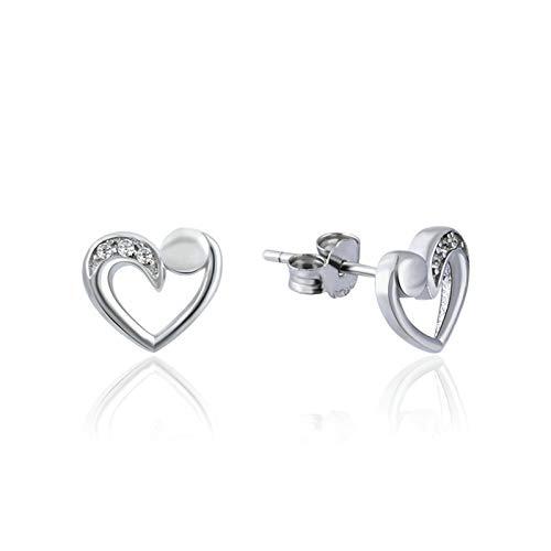ROMQUEEN Pendientes de Corazón de Cristal Diseño Hueco Pendiente Mujer Largo Borlas de Algodon,Plata