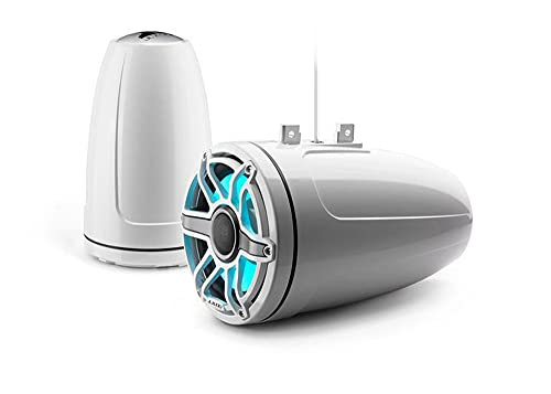 """JL Audio M6-880ETXv3-Gw-S-GwGw-i M6 Series 8.8"""" 2-Way Marine Audio Enclosed Tower Coaxial Speakers w/LED Lighting - Gloss White"""
