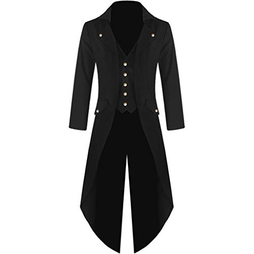 LILICAT Herren Vintage Frack Steampunk Gothic Jacke Viktorianischen Langer Mantel Fasching Karneval Cosplay Kostüm Smoking Jacke Uniform Langarm Windbreaker