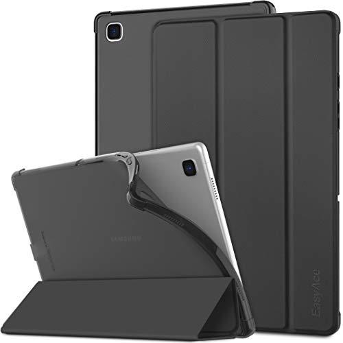 EasyAcc Funda Compatible con Samsung Galaxy Tab A7 2020 10.4 Pulgadas SM-T500 T505 T507, Superligera Translúcida Carcasa con Soporte Función Cover Case de TPU, Negro