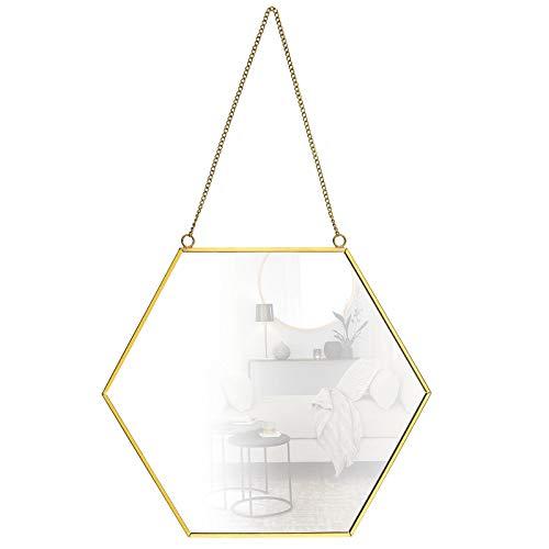 OTOTEC - Espejo de pared para colgar de tamaño grande de 30 x 26 cm, marco de latón para decoración hexagonal, para el hogar, baño, dormitorio, sala de estar, entrada, estilo vintage