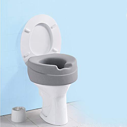 """Toilettensitz-Erhöhung\""""Soft\"""", Toilettenaufsatz Sitzerhöhung Toilettensitz WC, 10 cm Erhöhung, & Hygienemulde, max. 185 kg, grau"""