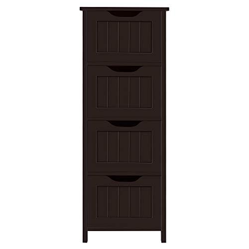 YAHEETECH Wood Bathroom Floor Cabinet Free-Standing Cabinet Unit Side Storage Organizer with 4 Drawers, Bathroom Furniture Set, Espresso