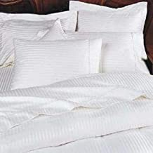 Grandeur Linens 800 Thread Count Four (4) Piece King Size White Stripe Bed Sheet Set, 100% Egyptian Cotton, Deep Pocket