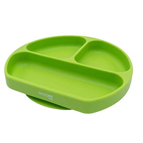 Plato de silicona para bebes | Plato de silicona con ventosa adherente a superficies no porosas| Mantel con compartimentos | Plato para BLW | Vajilla de silicona libre de BPA (Verde)